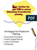 Strategies for Production Planning