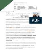 Guia de Desarrollo y Definiciones de Elementos Comunes Del Genero Lirico, Refranes, Adivinanzas Trabalenguas