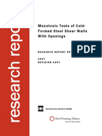 Monotonic Tests of Cold Formed Steel Shear Wall