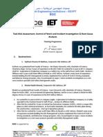 Task Risk Assessment + Control of Work & RCA Training Programme Outline