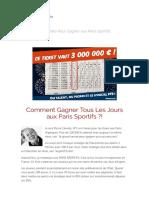 La Methode Pour Gagner à Tous Les Paris Sportifs