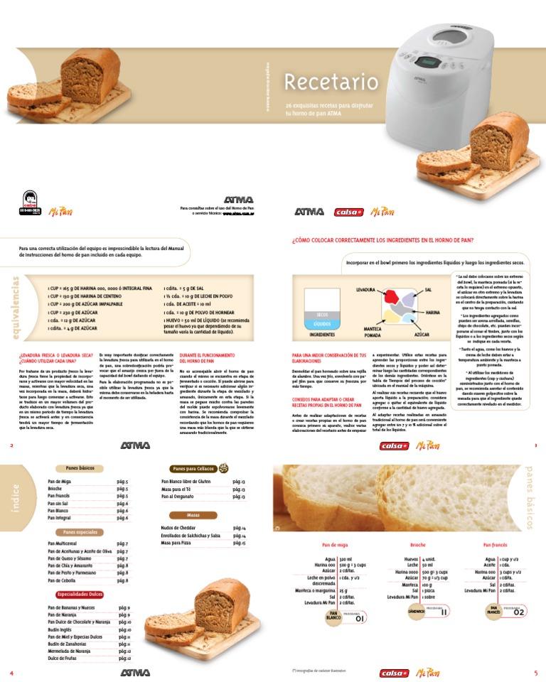 recetas de pan con maquina atma