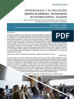 5 Estilos de Aprendizaje y Su Relación Con El Rendimiento Académico, Estudiantes de Sistemas ESPOCH – Ecuador
