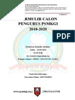 Formulir Calon Pengurus PSMKGI 2018-2020