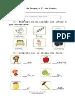 Guía Primero básico letras m, p, l, s