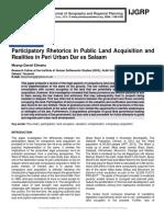 Participatory Rhetorics in Public Land Acquisition and Realities in Peri Urban Dar es Salaam