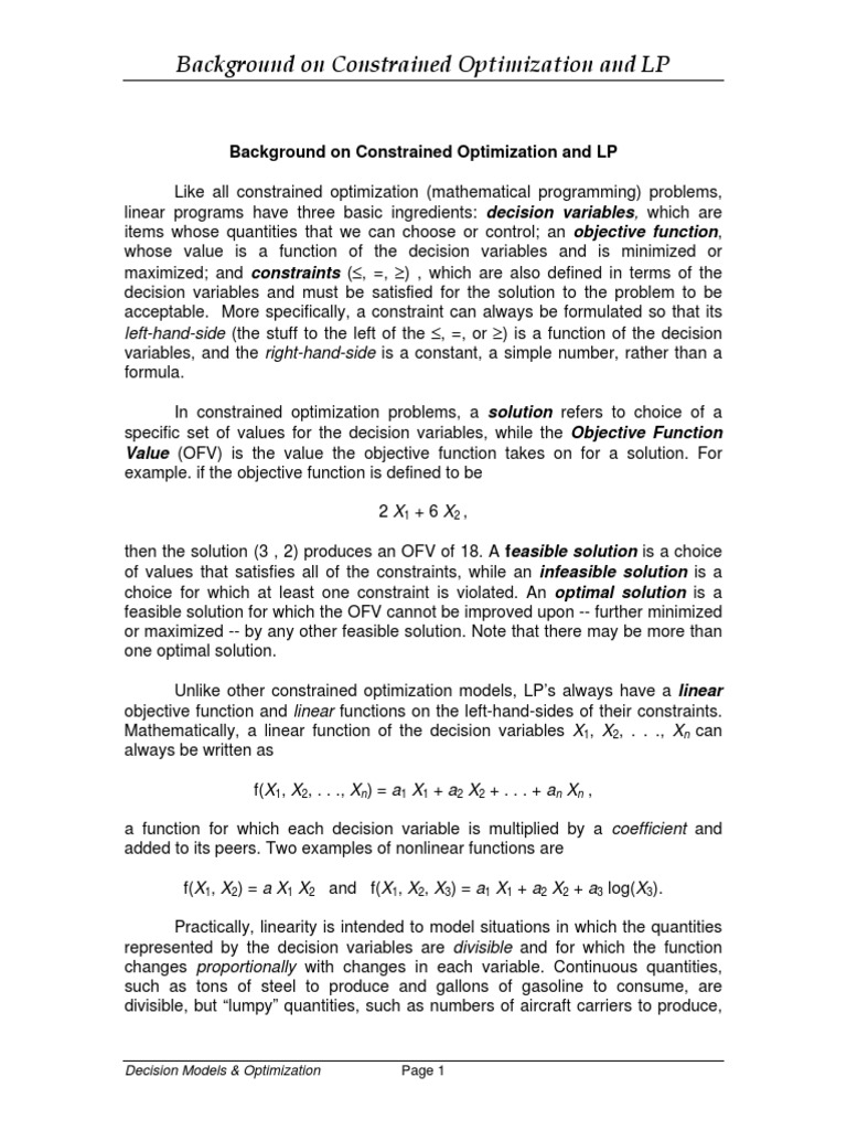 objective function constraints