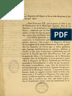 Orden de Publicar Las Cortes de Cadiz