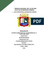 Monografía Patrón Alimentario en Las Regiones de La Costa Del Perú