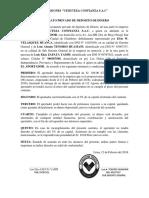 Contrato Privado de Deposito de Dinero Tenorio
