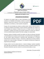 Comunicado Cancillería sobre Nicaragua
