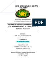 Informe de La Ex Planta Metalurgica de Yauris