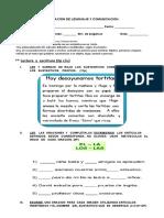 Evaluación de Lenguaje y Comunicación Sustantivos y Articulos