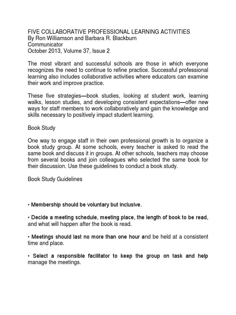 five collaborative professional learning activities teachers rh scribd com Book Map