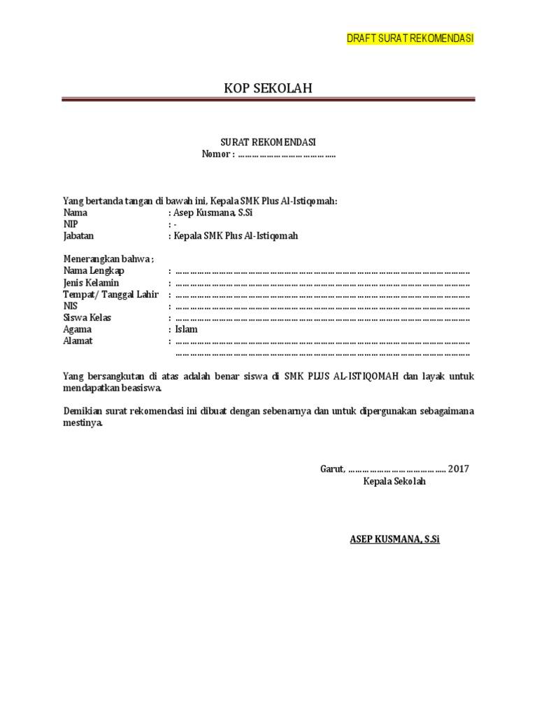 Contoh Surat Surat Rekomendasi Sekolah Untuk Beasiswa