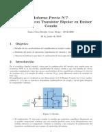 Informe Previo Amplificador con transistor en emisor comun