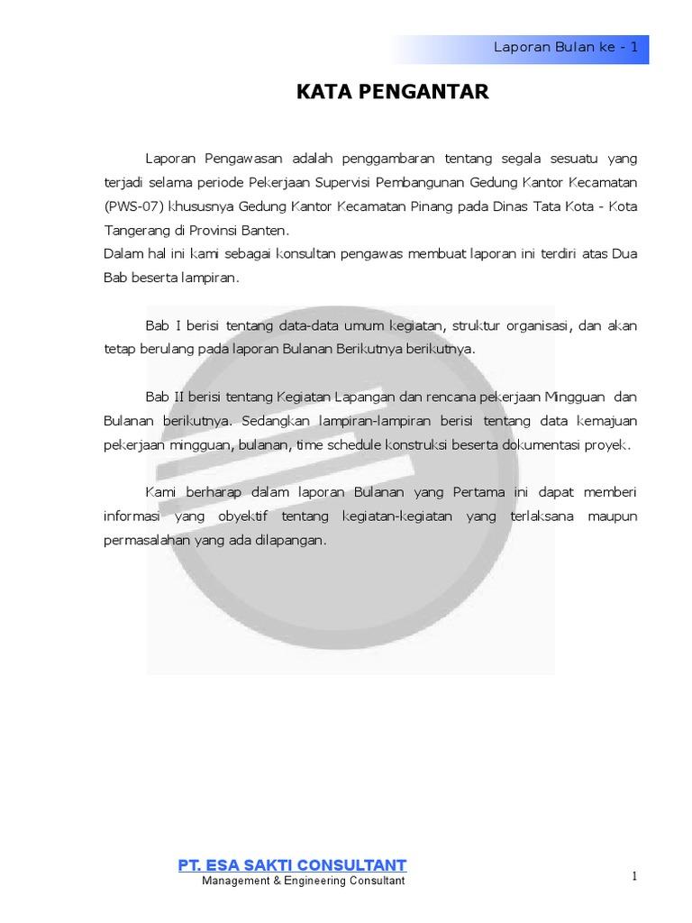 Contoh Laporan Konsultan Pengawas Proyek Pdf Seputar Laporan