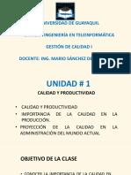 Unidad 1 - Calidad y Productividad MSD