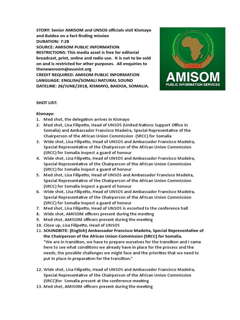 Senior AMISOM and UNSOS officials visit Kismayo and Baidoa