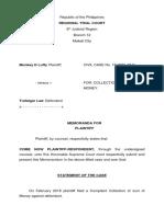 Memoranda Plaintiff