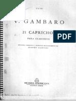 GAMBARO, Vicenzo - 21 Capricci, Per Clarinetto.