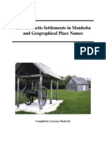 Historic Metis Settlements in Manitoba and Geographical Place Names