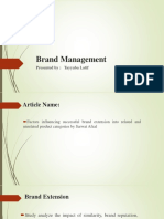 Factors influencing successful Brand Extension