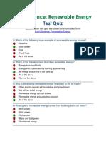 Quiz -Renewable Energy