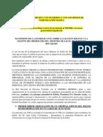 Manifiesto Sociedad Civil Sobre 1er Mes de Gestion Ministro Rocabado
