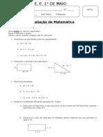 Prova Matemática expressões algébrica e equações