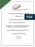 Marketing Empreserarial II - La Segmentacion, Determinacion de Objetivos y Posicionamiento de Mercado