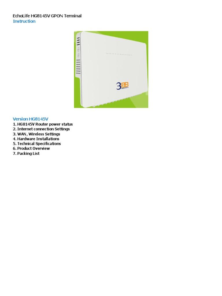 20180124101654EchoLife HG8145V GPON Terminal_Eng | Wireless Lan | Usb