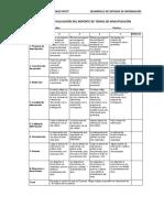 Rubrica Para Evaluación Del Reporte de Temas de Investigación