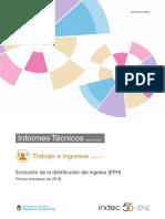 Evolución de la distribución del ingreso EPH 1°trim2018