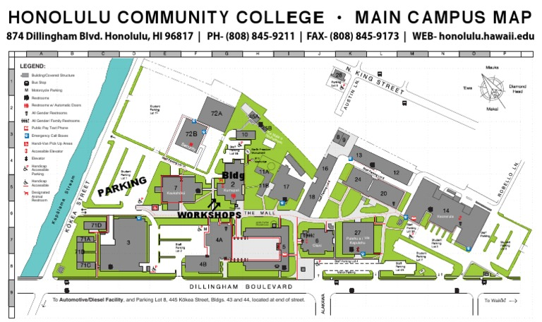 Honolulu Community College Campus Map.2018 Hcc Sbf Parking Map Technology