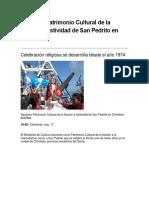 Declaran Patrimonio Cultural de La Nación a Festividad de San Pedrito en Chimbote