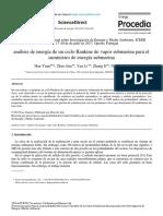 Análisis de Energía de Un Ciclo Rankine de Vapor Submarina Para El Suministro de Energía Submarina