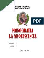 Monografia La Adolescencia 26 Hojas