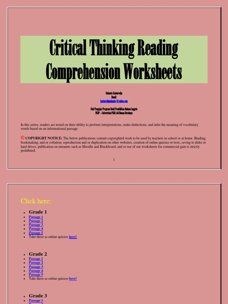 - Critical Thinking Reading Comprehension Worksheets Reading