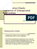 Communication Climate - Foundation of Interpersonal Relationships
