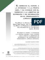 El Derecho Al Honor, A La Intimidad y a La Propia Imagen..