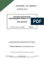 Le sujet d'histoire-géographie de la série générale en métropole