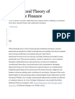 A Behavioral Theory of Corporate Finance