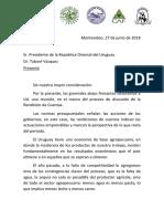 Carta al Presidente Dr. Tabaré Vázquez