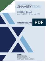 June 30, 2018 Shabbat Card