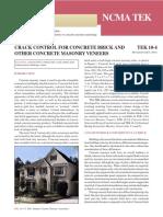 Crack Control for Concrete Brick and Masonry Veneer (NCMA TEK 10-4)