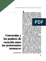 Conversion y Poderes de Curacion Protestates Totonacos