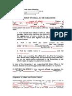 Affidavit of Denial for NBI Clearance.doc