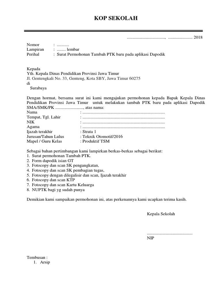Surat Permohonan Tambah Ptk Contoh