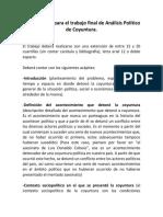 Lineamientos para el trabajo final de Análisis Político de Coyuntura